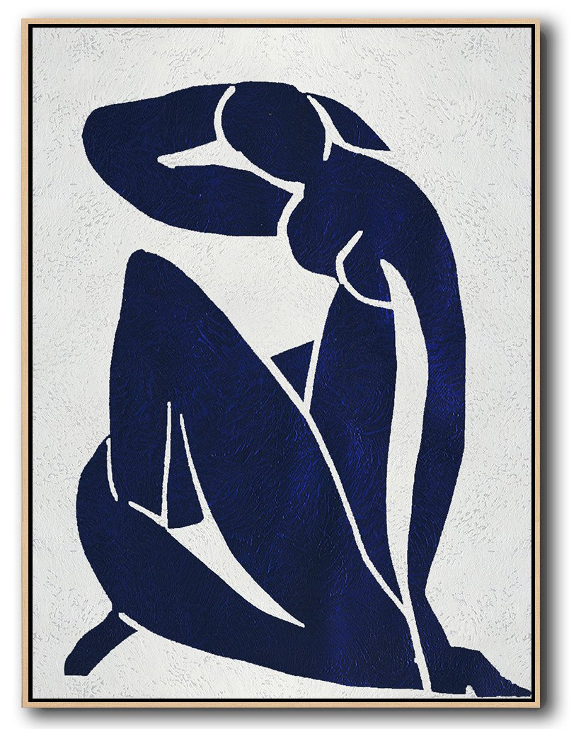 Abstract Art Decor,Contemporary Painting,Navy Blue Abstract Painting Nude Art Online,Original Abstract Painting Canvas Art